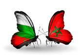 Butterflies with Bulgaria and Morocco flags on wings — Stock Photo