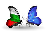 Butterflies with Bulgaria and Micronesia flags on wings — Stock Photo