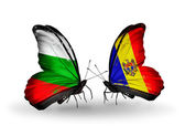 Butterflies with Bulgaria and Moldova flags on wings — Stock Photo