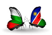 Butterflies with Bulgaria and Namibia flags on wings — Stock Photo