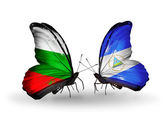 Butterflies with Bulgaria and Nicaragua flags on wings — Foto de Stock