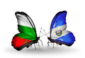 Butterflies with Bulgaria and Salvador flags on wings — Stock Photo