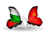 Vlinders met bulgarije en de sovjet-unie vlaggen op vleugels — Stockfoto
