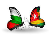Butterflies with Bulgaria and Togo flags on wings — Foto Stock