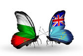Butterflies with Bulgaria and Tuvalu flags on wings — Stockfoto