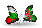 Butterflies with Bulgaria and Turkmenistan flags on wings — Stock Photo
