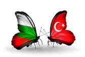 Butterflies with Bulgaria and Turkey flags on wings — Photo