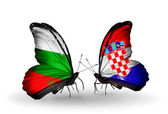 Butterflies with Bulgaria and Croatia flags on wings — Stockfoto