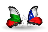 Butterflies with Bulgaria and Chile flags on wings — Stockfoto