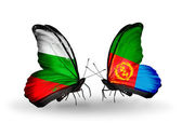 Butterflies with Bulgaria and Eritrea flags on wings — Stock Photo