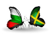 Butterflies with Bulgaria and Jamaica flags on wings — Stockfoto