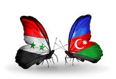 Butterflies with Syria and Azerbaijan flags on wings — Stock Photo