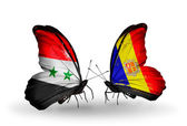 Butterflies with Syria and Andorra flags on wings — Stockfoto