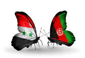 Butterflies with Syria and Afghanistan flags on wings — Photo