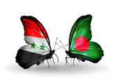 Butterflies with Syria and Bangladesh flags on wings — Photo