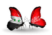Butterflies with Syria and Waziristan flags on wings — Foto Stock