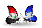 Butterflies with Syria and Honduras flags on wings — Stock fotografie