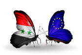 Butterflies with Syria and European Union flags on wings — 图库照片
