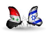 Borboletas com bandeiras de síria e israel sobre asas — Fotografia Stock