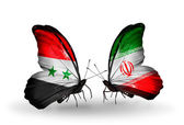 Butterflies with Syria and Iran flags on wings — Stockfoto