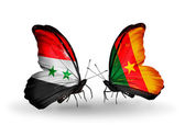 Butterflies with Syria and Cameroon flags on wings — Stok fotoğraf