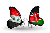 Butterflies with Syria and Kenya flags on wings — Photo