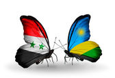 Butterflies with Syria and Rwanda flags on wings — Stok fotoğraf