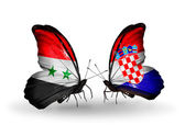 Butterflies with Syria and Croatia flags on wings — Photo