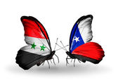 Butterflies with Syria and Chile flags on wings — Stok fotoğraf