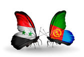 Butterflies with flags of Syria and Eritrea — Stock Photo