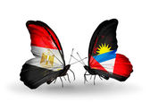 Butterflies with flags of Egypt and Antigua and Barbuda — Stock Photo