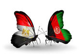 Butterflies with flags of Egypt and Afghanistan — Stock Photo