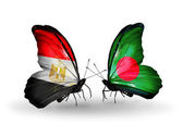 Butterflies with flags of Egypt and Bangladesh — Stockfoto