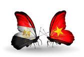 Бабочки с флагами Египта и Вьетнама — Стоковое фото