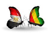 Fjärilar med flaggor i egypten och guinea — Stockfoto