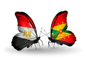 Butterflies with flags of Egypt and Grenada — Stockfoto