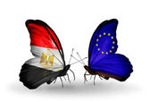 Butterflies with flags of Egypt and European Union — Stockfoto