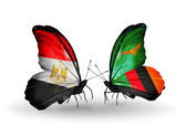 Butterflies with flags of  Egypt and Zambia — Stockfoto