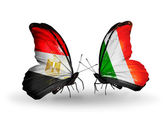 Butterflies with Egypt and Ireland flags on wings — Stockfoto