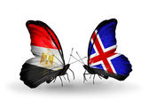 Butterflies with Egypt and Iceland flags on wings — Stock Photo