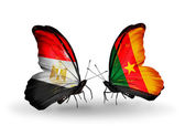 Butterflies with Egypt and Cameroon flags on wings — Foto Stock