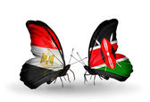 Butterflies with Egypt and Kenya flags on wings — Stok fotoğraf