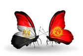 Butterflies with Egypt and Kirghiz flags on wings — Stok fotoğraf
