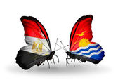 Butterflies with Egypt and Kiribati flags on wings — Stockfoto