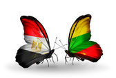 Butterflies with Egypt and Lithuania flags on wings — Stock Photo