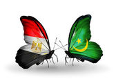 Butterflies with Egypt and Mauritania flags on wings — Foto Stock