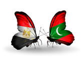 Butterflies with Egypt and Maldives flags on wings — Stock fotografie