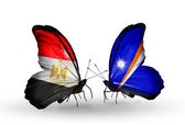 Butterflies with Egypt and Marshall islands flags on wings — Stockfoto