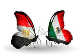 Butterflies with Egypt and Mexico flags on wings — Stockfoto