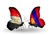 Butterflies with Egypt and Mongolia flags on wings — Stok fotoğraf